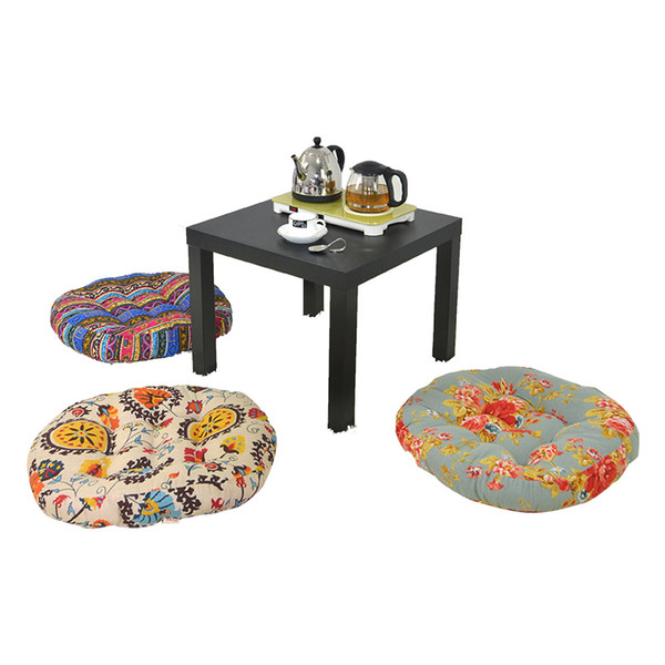 National Flavor Round Cushion For Sofa Car Chair Seat,Home Decorative Floor Seat Cushions,Afternoon Tea Thick Cotton Sitting Pad Soft Mats