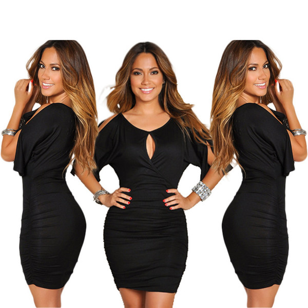 top popular Women Bodycon Dress Hollow Out Half Sleeve Elastic V Neck Off the Shoulder Casual M- 3XL Summer Fashion Clothes 2021