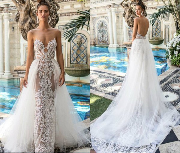 2019 berta lace wedding dre e with detachable train heer jewel backle mermaid bridal dre handcraft beaded plu ize wedding gown