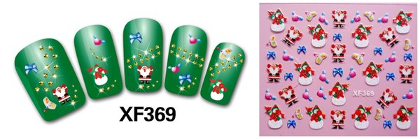XF series original christmas 3d nail art sticker with the detail paper card each model need over 5pcs