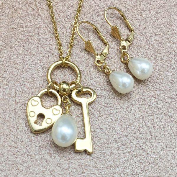 Stainless Steel Jewelry Set Dangle Earring Lock Key Pendant Necklace Love Jewelry Set for Women