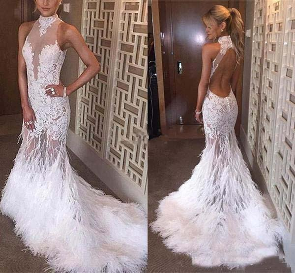 2018 Prom Dresses Long Prom Dress Evening Dresses Formal Dress Evening Gowns Mermaid High Neck Applique Backless Ostrich Feather Custom Made