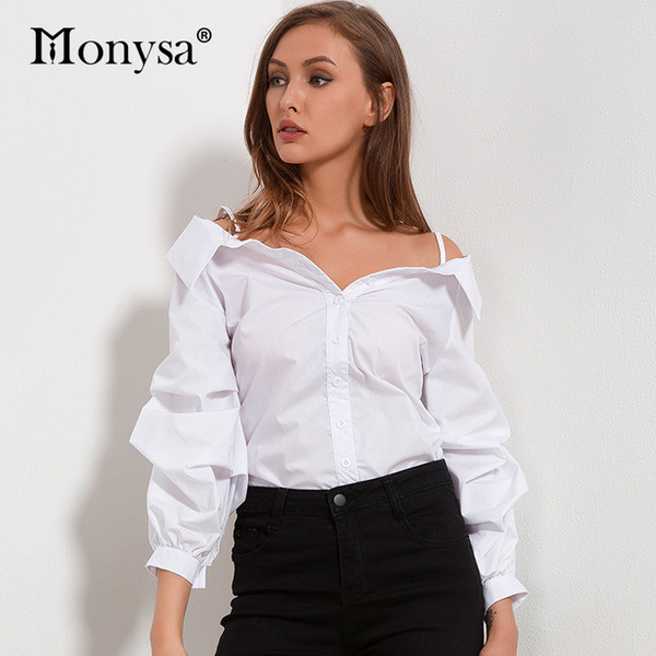 Off Shoulder Blouses Women 2018 Autumn New Arrivals Fashion White Lantern Sleeve Shirts Women Casual Tops Womens Clothing Y1891109