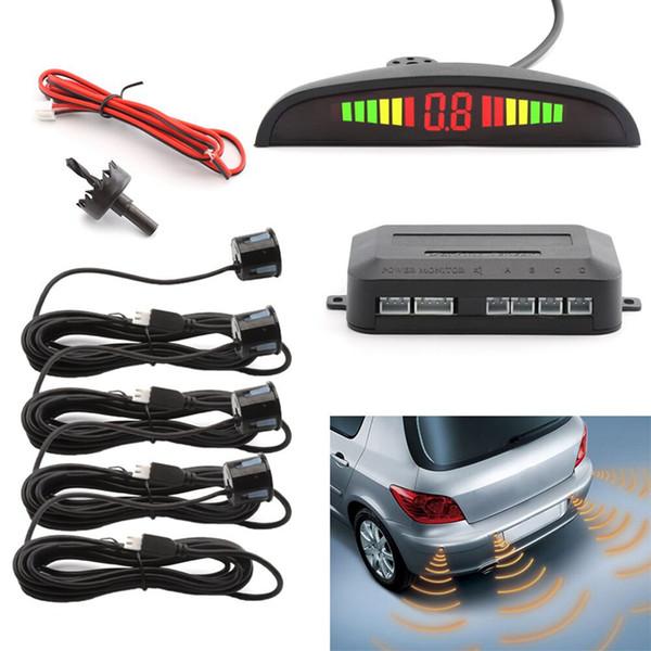 Carro Sensor de Estacionamento LED Assistência Reversa Backup Radar Monitor Do Sistema de Retroiluminação Display + 4 Sensores carro Alarme de Segurança Preto GGA265