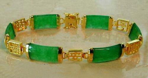 "Natural Emerald Green Jade 18KGP Fortune Longevity Luck Link Bracelet 7.5""<<<free shipping"