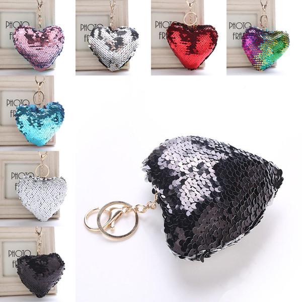Mermaid Sequin Heart Keychain Carabiner Key rings Bag Hangs Fashion Jewelry for Women Drop Ship 340054