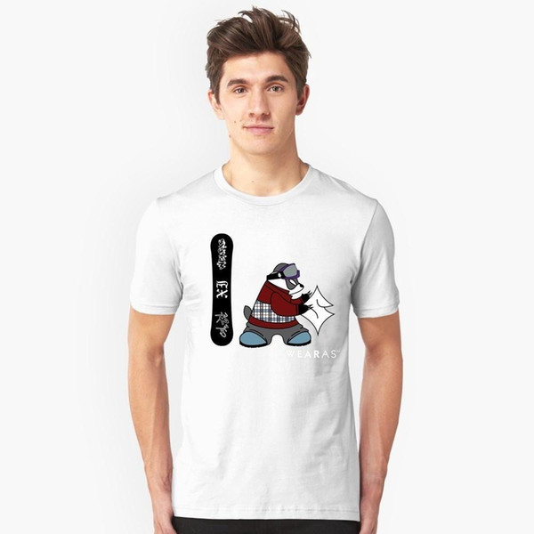 WEARAS Snowboard Panda (Animal Support) Anti season round neck men's short-sleeved shirt summer casual loose sweat breathable new print