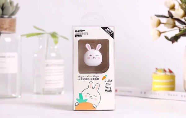 Christmas gifts.Cartoon bunny card MP3, fashion boutique MP3 player, cute styling music player, integrated headset MP3. Holiday gift.