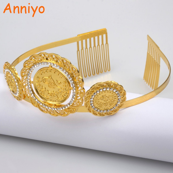 Anniyo Gold Color Turkey Coin Hairband For Women Wedding Hair Accessories Headpieces Jewelry Arab Middle East Crown Gift #059306 S918