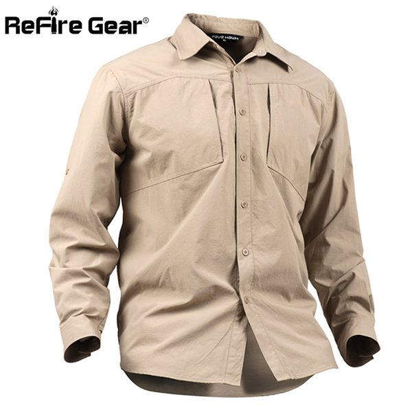 ReFire Gear Men's Army Urban Tactical Shirt Spring Summer Breathable SWAT Shirt Man Casual Quick Dry Long Sleeve Shirts