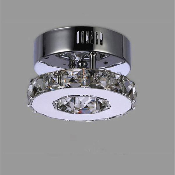 Minimalista Singolo anello D15cm plafoniera di cristallo led luci corridoio Corridoio in acciaio inox casa balcone illuminazione sala da pranzo