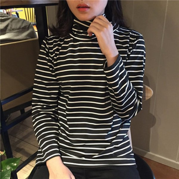 Tee Shirts Woman 2017 Spring New Korean Harajuku Striped Turtleneck T-shirt For Women Long Sleeve T-shirts Casual Tops