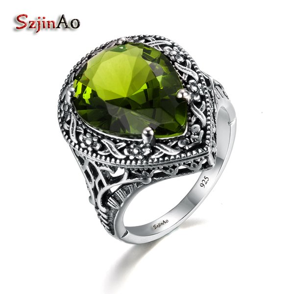 Szjinao Love Rings For Women Gioielli antichi Green Olivine Women Authentic 925 Sterling Silver Ring Anello tibetano fatto a mano Y1892705