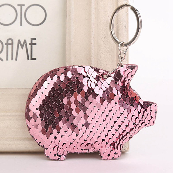 Fashion Cute Sequins Pig Keychain Charms Pendant Shiny Keyring Women Handbag Pendant Keychain Jewelry Accessories