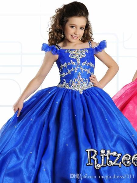 2.019 niñas desfile de vestidos para niñas Vestidos Poco niño del azul real de los niños bola de la Piso longitud vestido de niña de las flores del brillo para las bodas con cuentas