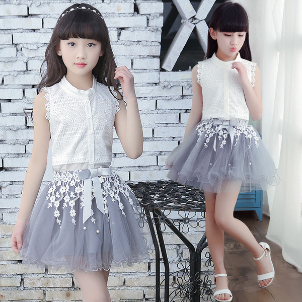 Princess Clothing Girls Sets Summer White Cardigan Tops Lace Tutu Layer Skirt 2pcs Set For Big kids Clothes Set Flower Girl Outfit A8985