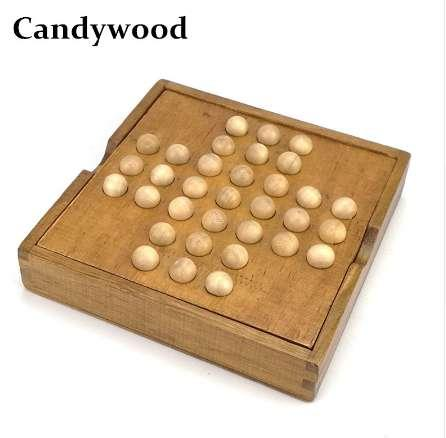 Candywood Intelligent China Kongming Lock chess Brain Teaser Toy Chess Classical Magic Wood Puzzle board game for kids adult