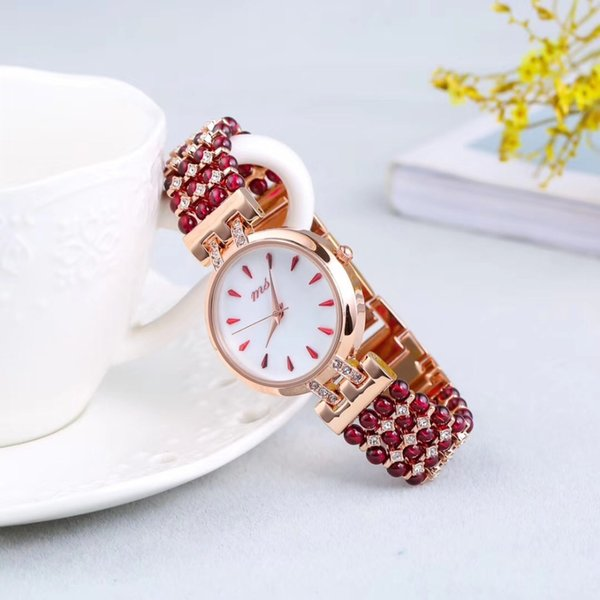 ¡La joyería natural del reloj DIY de la pulsera 33m m de la piedra del granate para el reloj impermeable de la mujer para la playa del verano vende al por mayor!