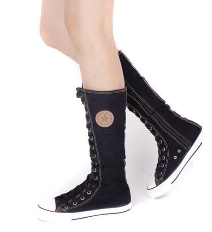 PUNK EMO Gothique Femmes Fille Chaussures Zip À Lacets Rock Boot Toile Sneaker Au Genou Haut
