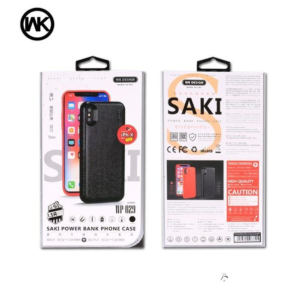 Original WK design SAKI Power Bank Case for iPhone X 7 8 6s Ultra Slim External Backup Battery Charger from Remax