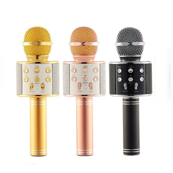 WS858 Bluetooth wireless Microphone HIFI Speaker Condenser Magic Karaoke Player MIC Speaker Record Music For Iphone Android Tablets PC