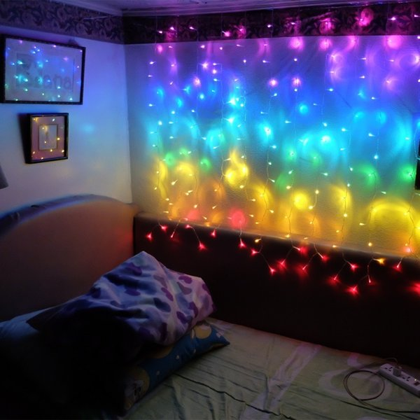 lowest price 61b62 48ee5 Connect 2M Rainbow Led Curtain Icicle String Lights Led Fairy Lights  Christmas Lamps Icicle Xmas Wedding Party Decoration String Of Christmas  Lights ...