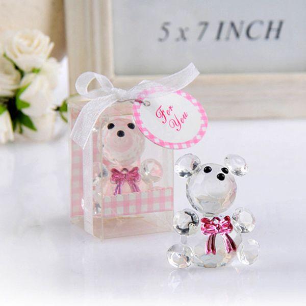 Mini cristal ours dans les coffrets cadeaux bébé douche garçon fille baptême fête souvenir nouveau-né bébé cadeaux boîte cristal faveurs de mariage