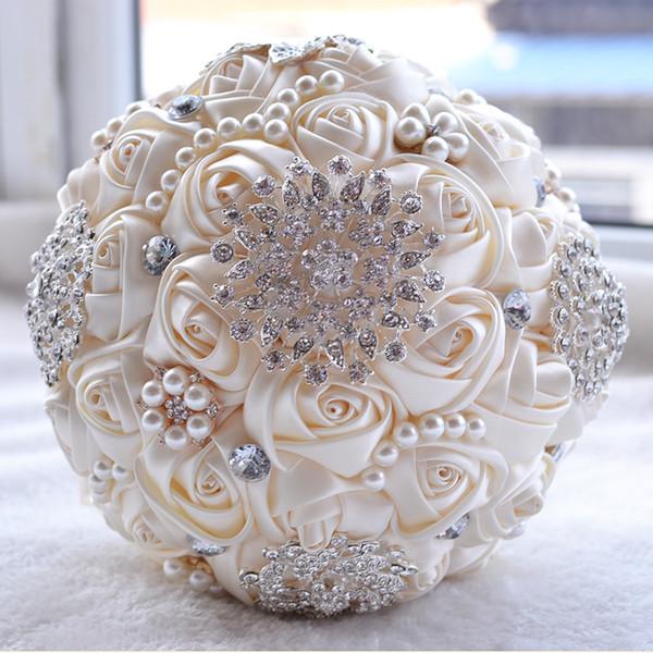 18 CM Lüks Fildişi İpek Gül Düğün Çiçekleri Kristal Broş Gelin Tutan Çiçekler Püskül Tam Elmas Dikiş Düğün Buket CPA1547