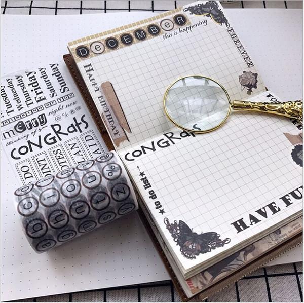 6 cm de Largura Do Vintage Preto branco Inglês Palavras Washi Tape Fita Adesiva DIY Scrapbooking Etiqueta Etiqueta Masking Craft 2016