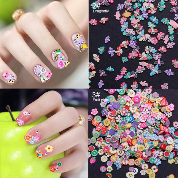 1000pc/pack Nail Art 3d Fimo Fruit Slices Polymer Clay Nail Designs Stickers Manicure Decorations DIY Tips Accessoires #280483
