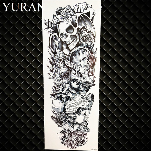 b65ec2d34 Long Lasting Black Pray Nun Temporary Tattoo Stickers Men Full Arm  Waterproof Tatto Women Shoulder Fake Tattoo Body Art Painting