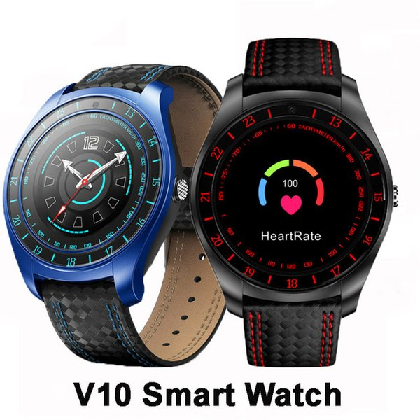 V10 Smart Watch Men with Camera Bluetooth Smartwatch Pedometer Heart Rate Monitor Sim Card Wristwatch for apple iphone Android Phone