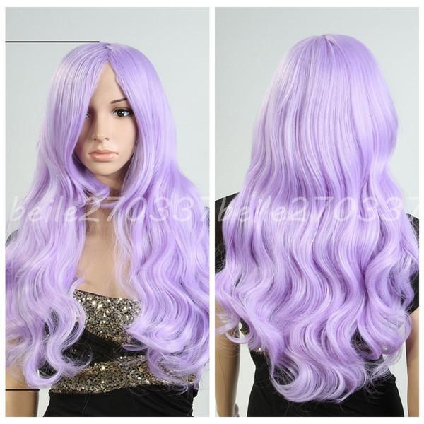 Vente chaude Femmes Longs Ondulés Bouclés Cosplay Parti Plein Perruques Lolita Violet Perruque + Cadeau