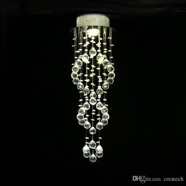 Iluminación colgante moderna Lámparas de techo Lámparas de araña de cristal Lámparas de araña de cristal en espiral Lámparas de escalera para escaleras