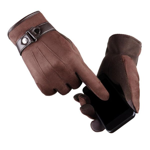 winter gloves men Faux suede Leather Full finger Anti Slip Warm Gloves Winter Autumn Men Mitten 2018
