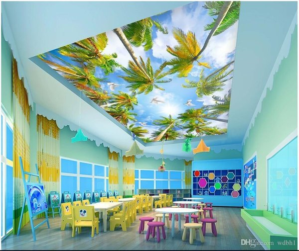 3d ceiling murals wallpaper custom photo non-woven mural 3d wall murals wallpaper for walls Summer coconut palm trees blue sky white clouds