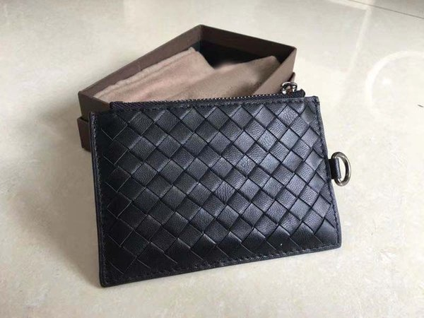 New Arrival!High Quality Hand-made Woven Lambskin Leather Card Case ID card Holder Famous Designer Men's Purse Thin Card Wallet Fashion Gift