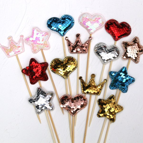 Glitter Sequins Star Heart Cake Toppers Baby Birthday Wedding Party Cupcake Dessert Insert Card Decoration Mix Colors