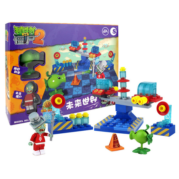 best selling Plants vs Zombies Building Blocks Shooting Toys The Future World Mini Scene 78Pcs