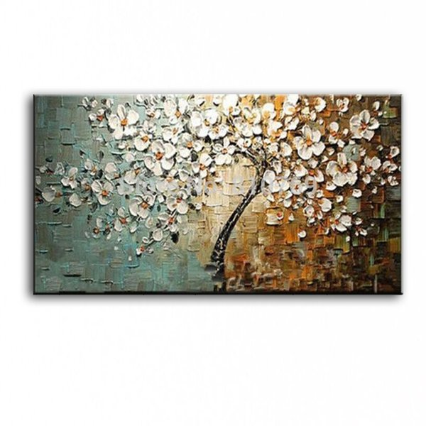 New handmade Modern Canvas on Oil Painting Palette knife Tree 3D Flowers Paintings Home living room Decor Wall Art 168022 Y18102209