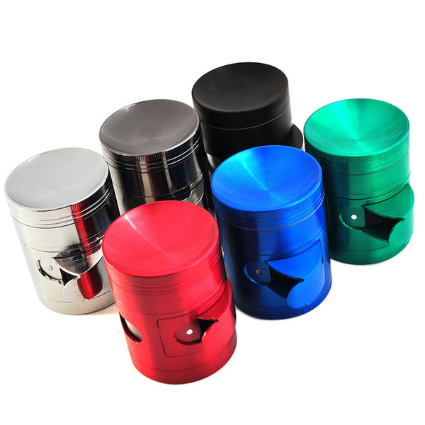 best selling custom 40mm 50mm 55mm 63mm 4layer side open cut tobacco grinder metal zicn alloy plat or Concave herb grinder for smoking dry herb
