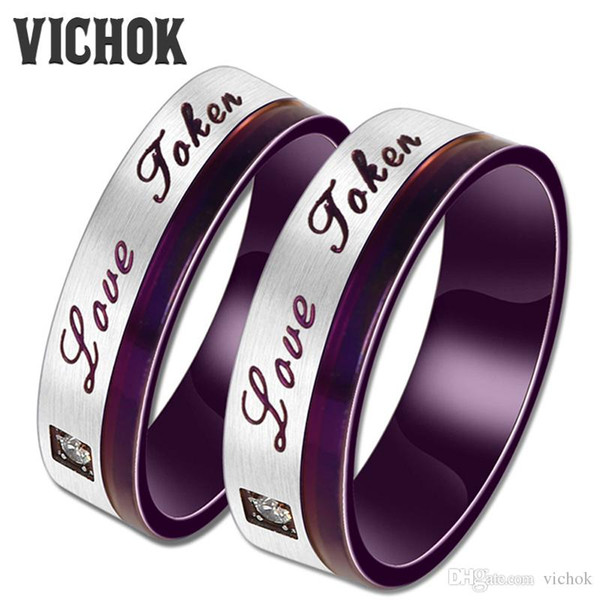 Love Fate Couple Rings 316L Stainless Steel Rings For Women Men Wedding Anniversary Lover Fine Jewelry Purple Color Accessories VICHOK