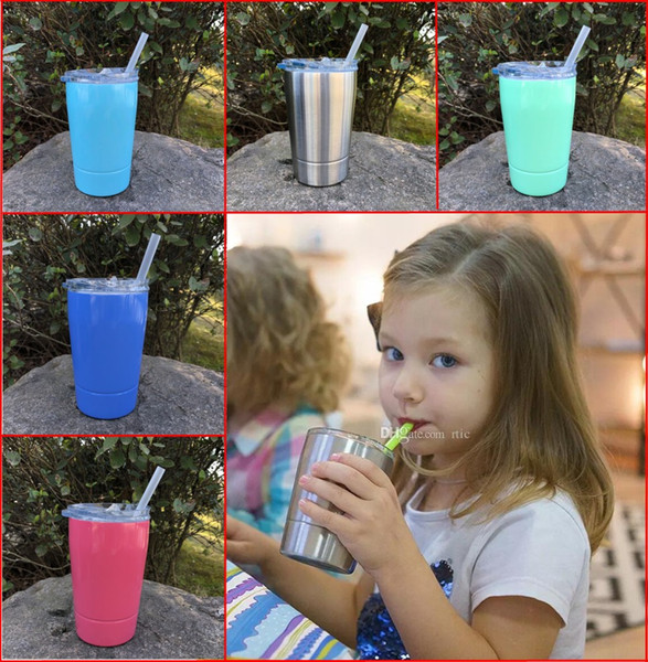 12oz Kids Cup with Lid Straw Wine Glass Vacuum Insulated Double Wall Stainless Steel Tumblers Coffee Mug Flask IN STOCK