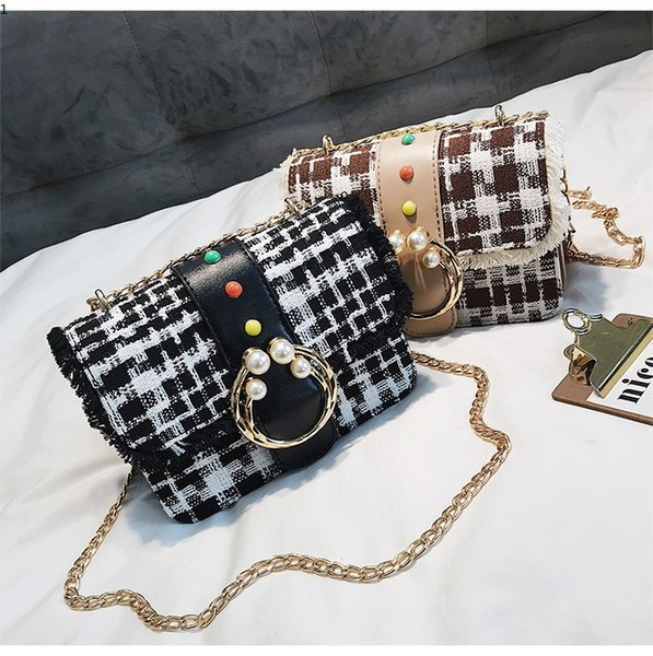 Causal Plaid Handbags High Quality Female Messenger Bag Chain Design Shoulder Vintage Ladies Hand Bag Crossbody Bags for Women