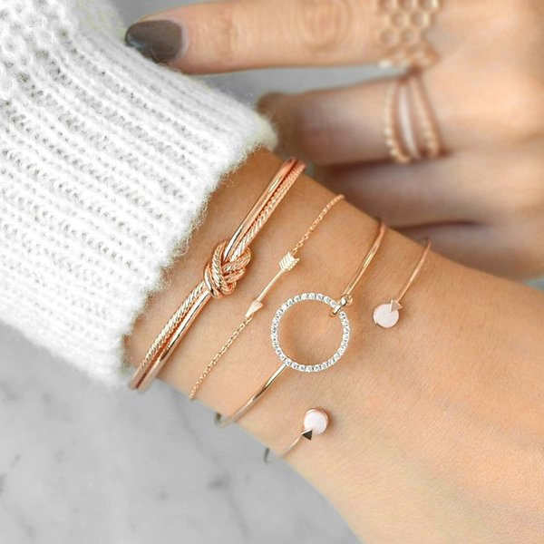 Wholesale cheap hot sale fashion Knotted Circle Arrow Charm personality Gold/Silver 4pcs/Set Bracelets Jewelry