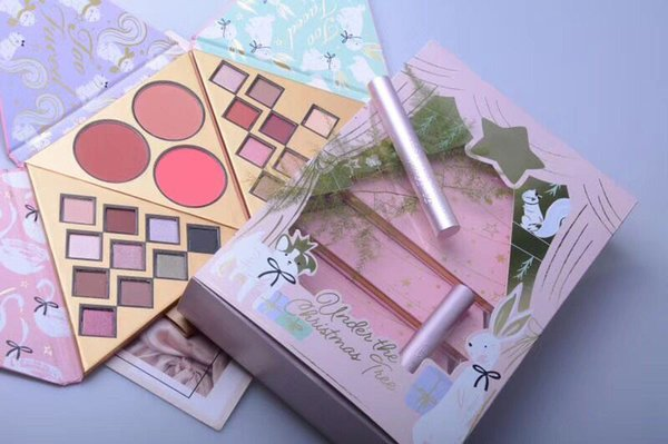 top popular New Faced Christmas set gift Under the Christmas Tree contains Two eyeshadow set and One blush set with better than sex mascara makeup sets 2021