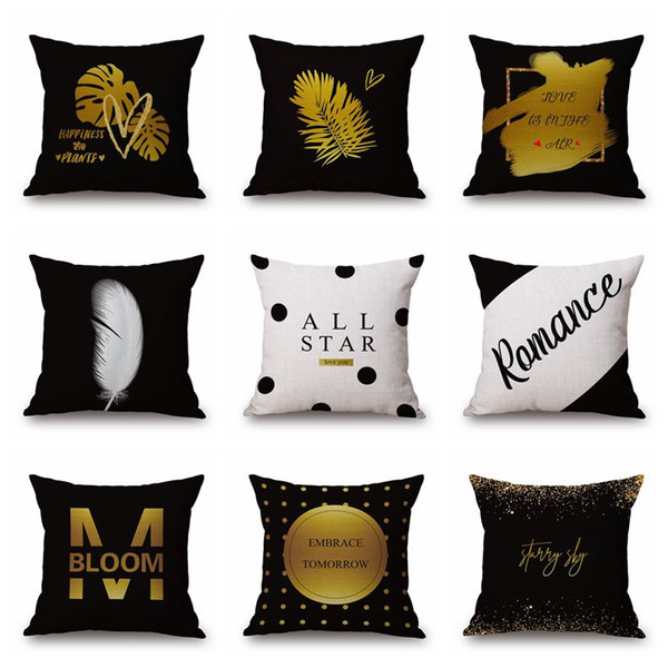 black and gold print cushion cover modern letter chaise chair throw pillow case nordic deer cojines geometric decor almofada