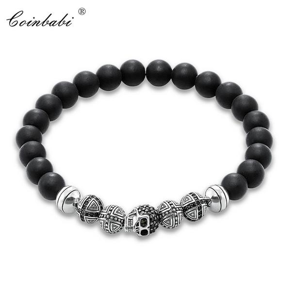 Thomas Skull Cross & Matted Obsidian Beads Rebel Elastic Bracelet, Ts 925 Sterling Silver Heart Punk Jewelry Gift For Men Women Y1891709