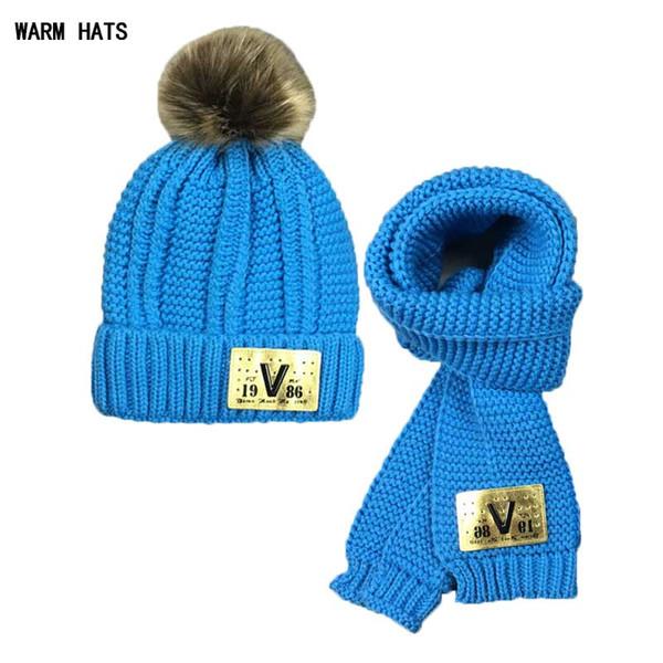 Garçons bébé chapeau bonnet ensemble fille pour enfants tricot bonnet de fourrure bonnet et écharpes hiver chaud porter 2 PCS costume v design chapeau accessoires 2018 MZ5263
