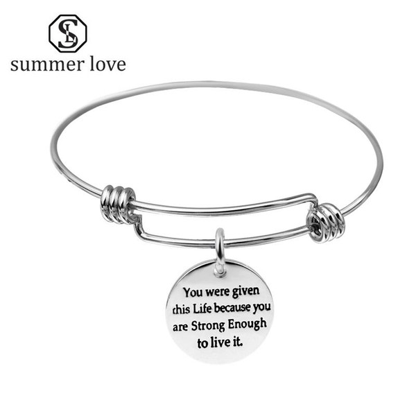Wholesale- Initial Expandable Wire Bangle Bracelet Adjustable Stainless Steel Letter Charm Silver for Women Jewelry Bracelets & Bangles